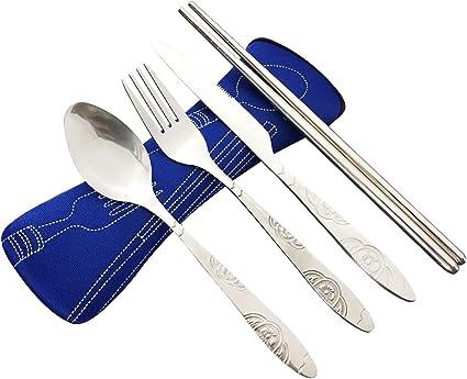 FIBOUND Cubiertos para cámping - Vajilla inoxidable de 4 piezas - cuchillo, tenedor, cuchara, palillos,Acampar, Deportes Al Aire Libre, Fiestas, ...