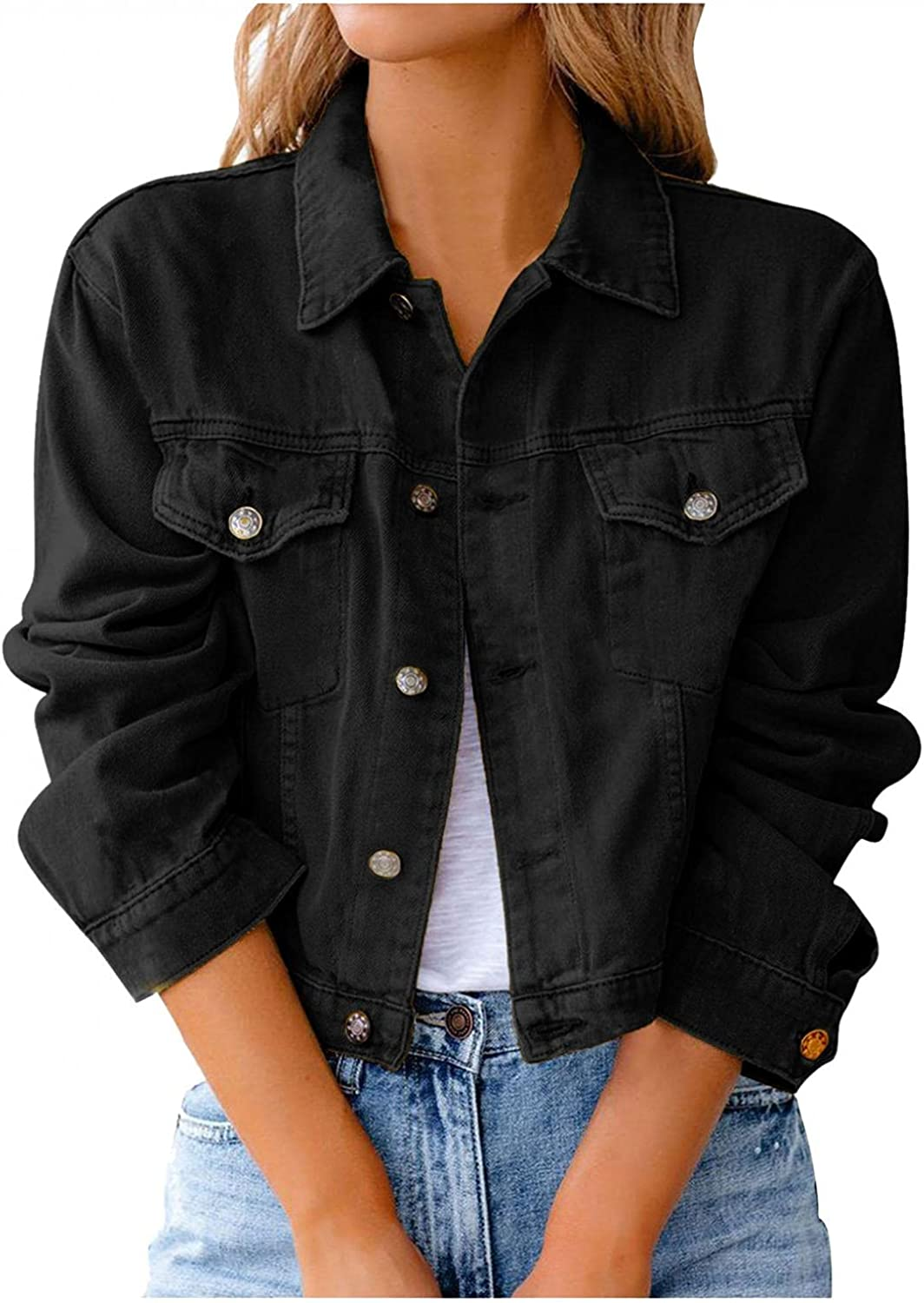 Womens Denim Jackets Vintage Fashion Washed Distressed Cropped Jean Jacket Button Turndown Girls Short Coats Outerwear
