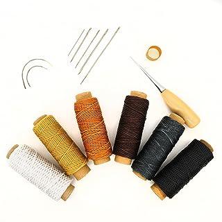 (インタートイボ)INTERTOYBO 蝋引き糸 レザークラフト ワックスコード 50m 15点 セット 革用 レザー 糸 紐 ロウ引き DIY 針 手作り 裁縫 0.8mm 幅