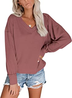 MayBuy Womens V Neck Waffle Knit Henley Tops Casual Loose Blouse Tunic