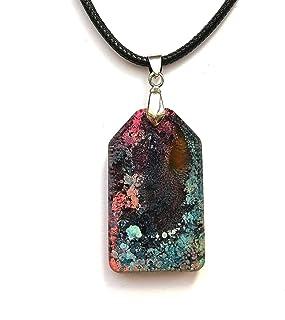 colgante de rosa azul púrpura Idea de regalo de joyería de collar colgante de resina hecha a mano de joyería
