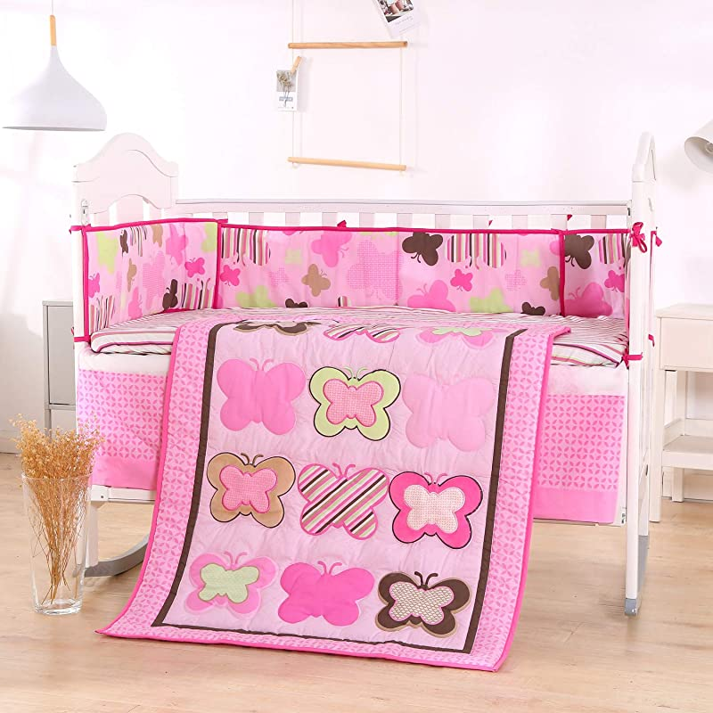 Wowelife Baby Pink Butterfly 7 Piece Baby Girl Bedding Crib Sets With Bumpers Pink Butterfly