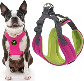Gooby - Convertible Harness, Small Dog Step In Neoprene Harness with Easy Neck Fastener, Pink, Medium