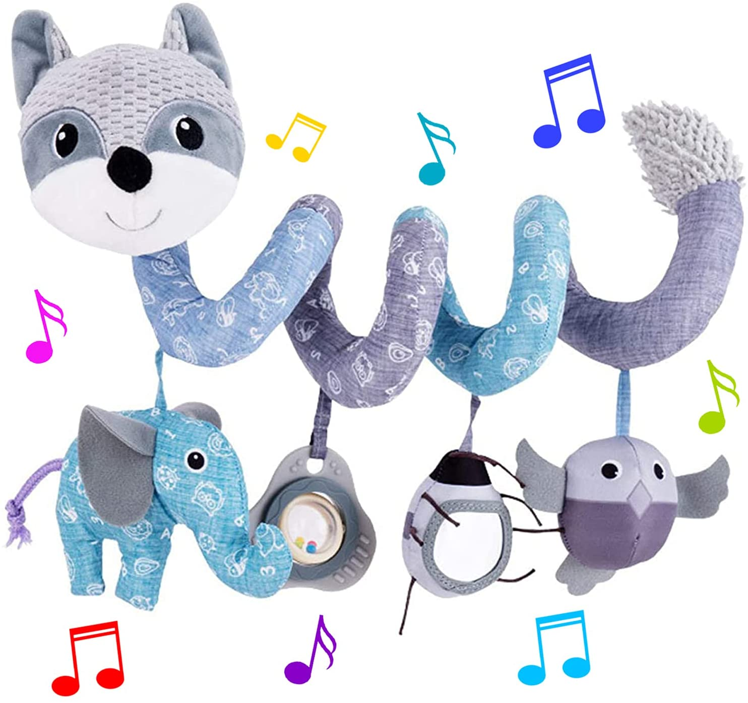 HILENBO Car Seat Toys, Infant Baby Gray Fox Spiral Plush Activity Hanging Toys for Car Seat Stroller Bar Crib Bassinet Mobile with Music Box BB Squeaker and Rattles(Gray)