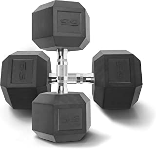 WF Athletic Supply Rubber Coated Solid Steel Cast-Iron Pair Dumbbells, Rubber Hex Dumbbells, Hex Weights Dumbbells for Mus...