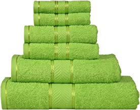 Divine Elegance 6 Piece Family Towel Set - 100% Cotton, Soft, Extra Absorbent, Quick Dry & Durable, Reasonable, 450 GSM -Natural Green