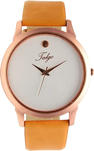 Analogue Men s Watch White Dial Brown Colored Strap