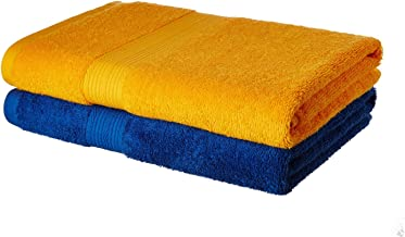 Amazon Brand - Solimo 100% Cotton 2 Piece Bath Towel Set, 500 GSM (Iris Blue and Sunshine Yellow)