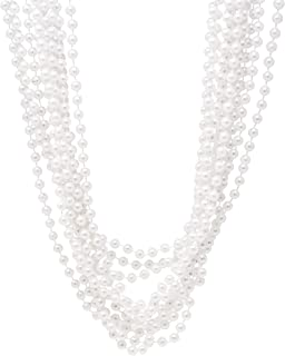 "24 Pack Pearl Necklaces for Women - Realistic Looking Fake Pearl Necklace Costume Jewelry - Tea Party Favors & Great Gatsby Party Decorations - Each Necklace Includes 7mm Faux Pearls On 48"" Strand"