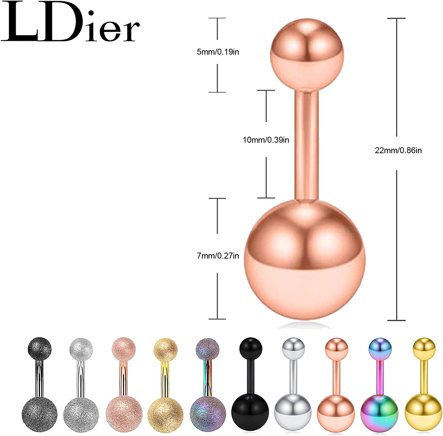 LDier Belly Button Rings - 10Pcs Stainless Steel Matte Navel Barbell Stud Rings - 14G Navel Piercing Jewelry for Women