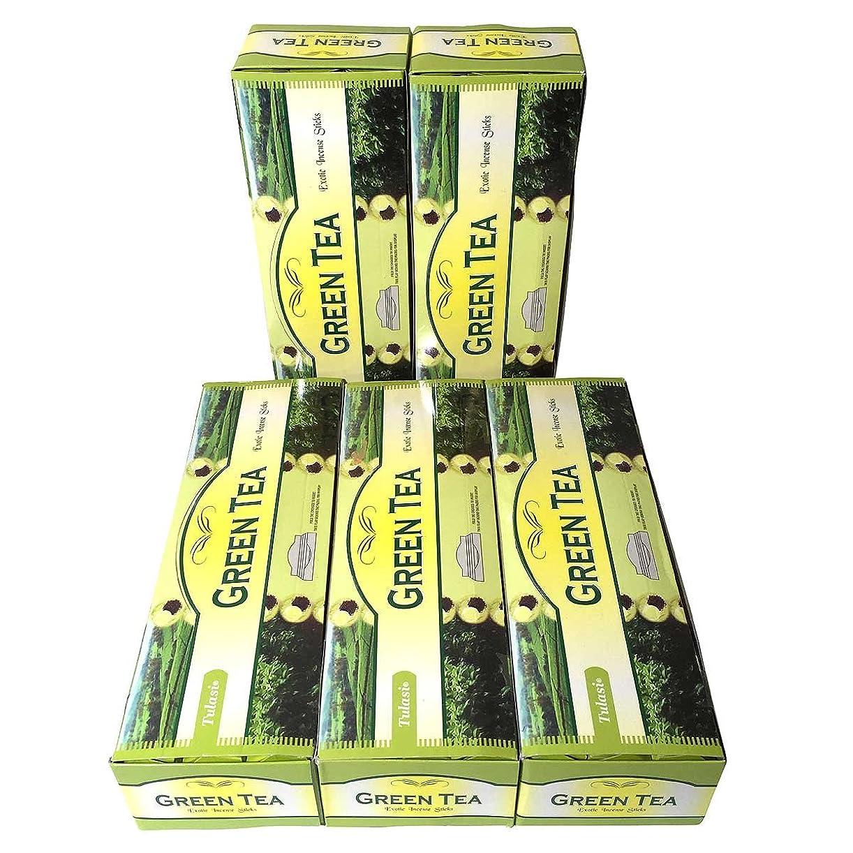絵言い聞かせる強制的グリーンティー香スティック 5BOX(30箱)/TULASI GREEN TEA/ インド香 / 送料無料 [並行輸入品]