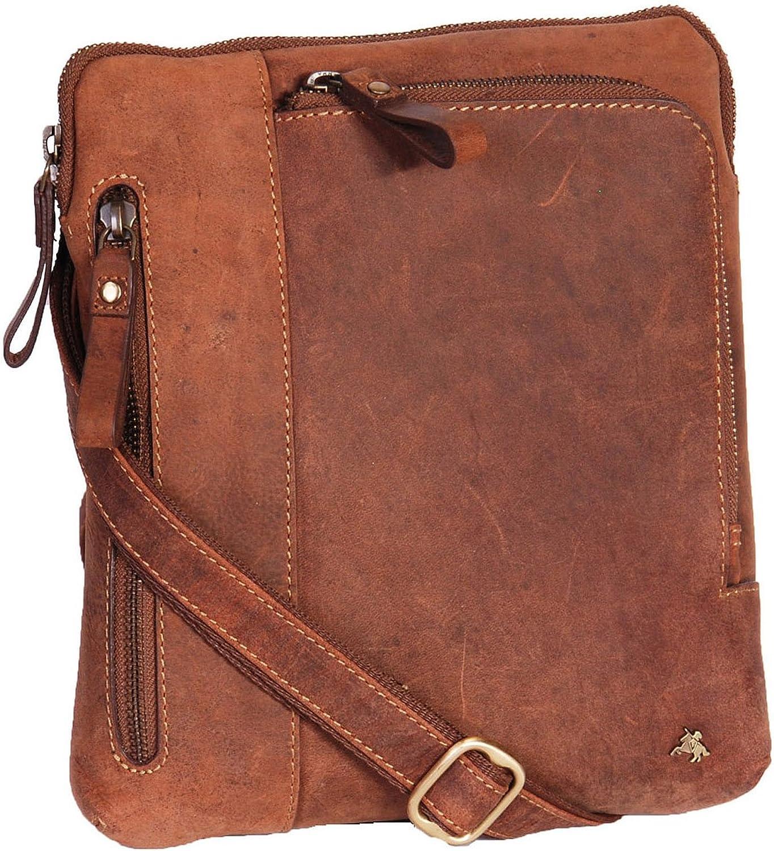 Real Leather Mens Cross Body Bag Vintage Messenger iPad Tablet Bag - A650 Tan