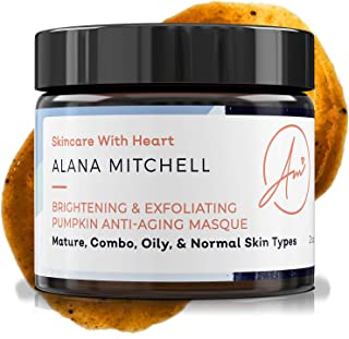 Brightening Pumpkin Enzyme Face Mask 2oz W/Glycolic Acid, Lactic and Citric Acid - Instant Gel Exfoliating Mask For Anti Aging, Lighter, Younger Refreshed Neck and Facial Area Skin Care