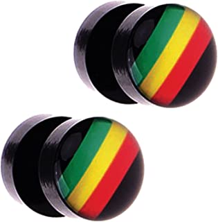 Fake Plugs with Rasta Flag Logo Fake Gauges, Black Acrylic 16 Gauge 00G Gauges Look - 2 Pieces