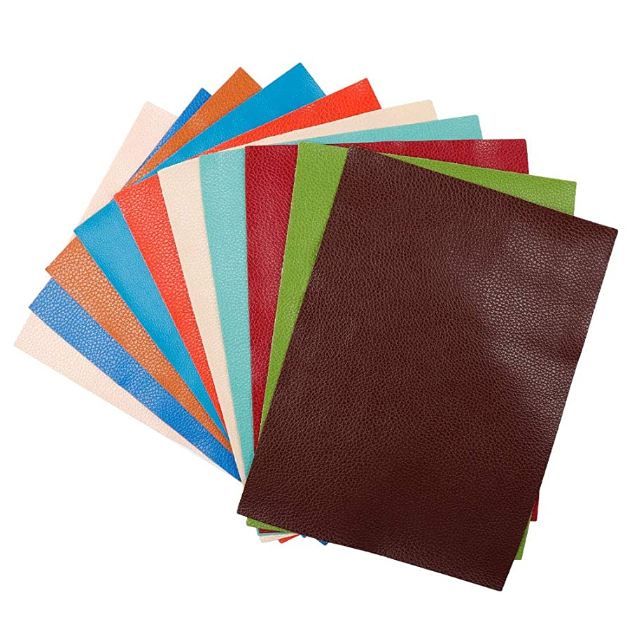 10 Pcs Solid Color Litchi Grain Texture Faux Leather Fabric Sheets 9 x 12 Inch(22 x 30 cm)Cotton Back for Hair Bows, Headband, Wallet Making