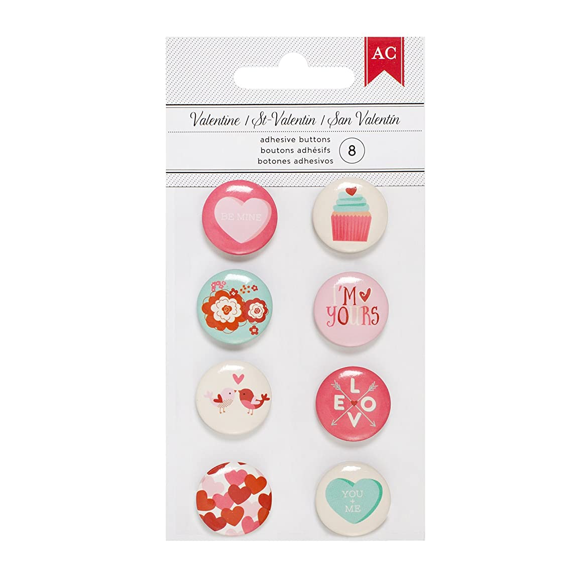 American Crafts Valentine's Embellishments Mini Flair 8 Piece