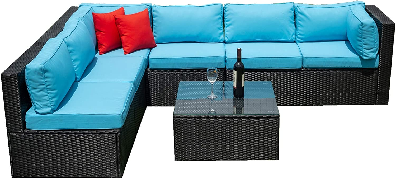 5 Pieces PE Rattan Sectional U Furniture Cushioned Home Outdoor Popular High quality