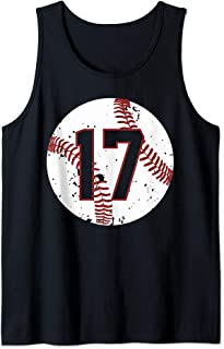 Vintage Baseball Number 17 Shirt Cool Softball Mom Gift Tank Top