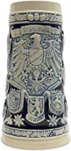 Beer Stein Engraved Germany Coats of Arms Cobalt Blue Beer Mug by E.H.G.   1.1 Liter