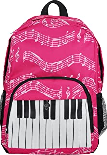 Oxford Musical Notes Print Backpack for School Boys Girls Stylish Art Bookbags (Keyboard Pink)