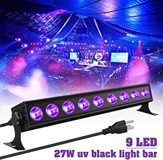 Black Lights Elfeland 9LED 27W LED UV Blacklight Bar with US Plug Glow in The Dark Party Supplies for Chrismas Blacklight Party Stage Lighting Body Paint Fluorescent Poster Birthday Wedding Party