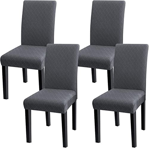 Fuloon 4 Pack Super Fit Stretch Removable Washable Short Dining Chair Protector Cover Seat Slipcover for Hotel,Dining...
