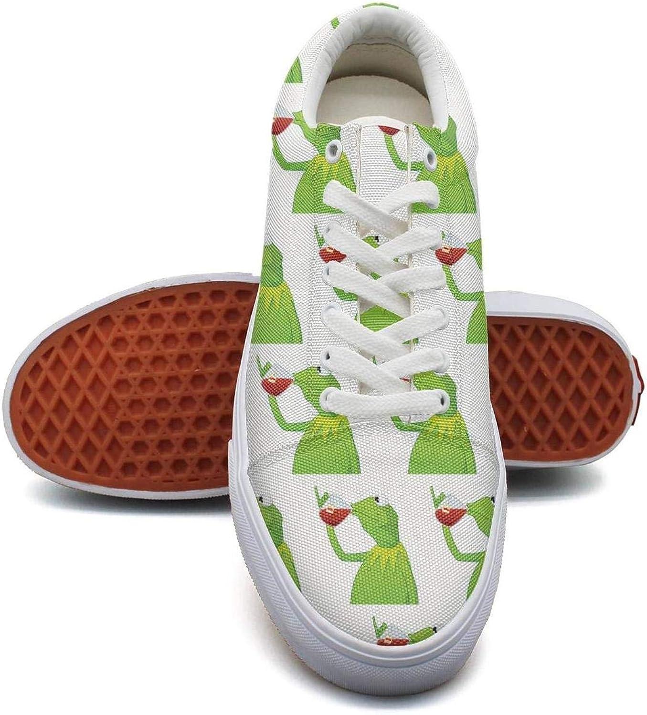 OGFJAL kvinnor rolig grön Frog Sipping Sipping Sipping Tea rolig mocka duk Skor skor  tillverkare direkt leverans