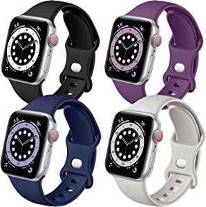 Getino Band Compatible with Apple Watch 40mm 38mm Series 6 5 4 3 2 1 SE Bands for iWatch Women Men Stylish Soft Silicone Wristband, 4 Pack, Purple, Pebble Gray, Black, Midnight Blue, S/M