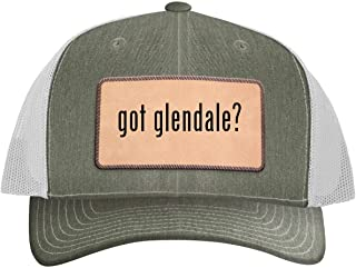 One Legging it Around got Glendale? - Leather Light Brown Patch Engraved Trucker Hat