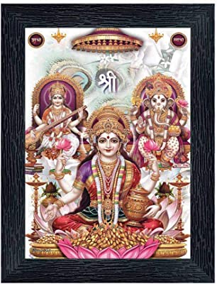 PnF Diwali Puja (laxmiji, Ganeshji,Saraswatiji) Religious Wood Photo Frames with Acrylic Sheet (Glass) for Worship/Pooja(photoframe,Multicolour,8x6inch) 20319