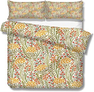 Mademai King Size Duvet Cover Set Flower,Old Vintage Ivy Lilacs for Kids/Teens/Adults Hidden Zipper Quilt Cover Printed