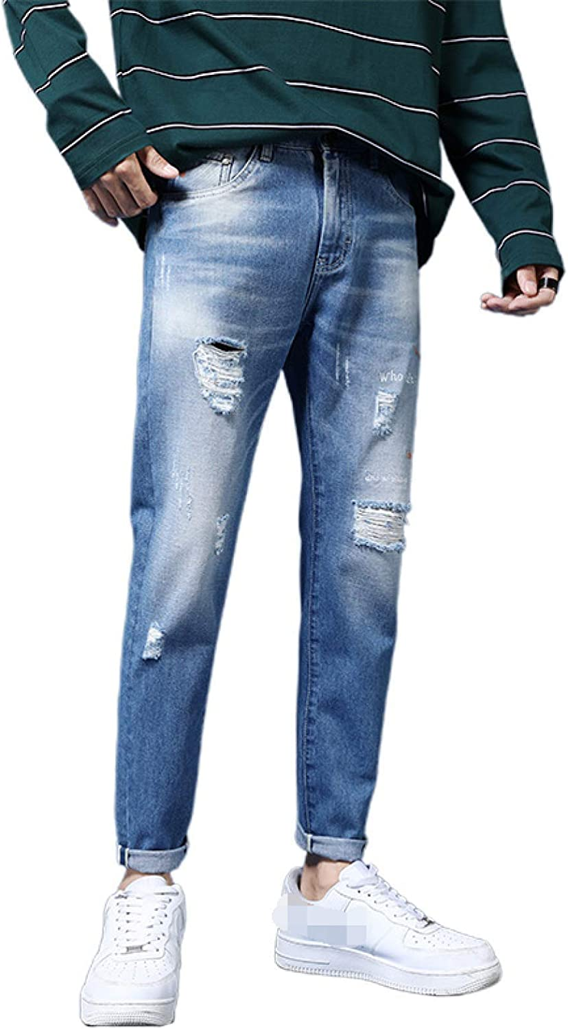 Corumly Men's Slim Recommended Fit Jeans Street Style Sale Special Price Frayed Breathable