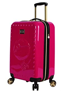 Designer 20 Inch Carry On - Expandable (ABS + PC) Hardside Luggage - Lightweight Durable Suitcase With 8-Rolling Spinner Wheels for Women (Lip Red)