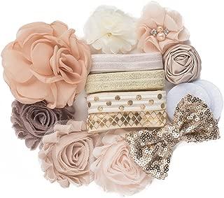 Nearly Nude : DIY Deluxe Mini Baby Shower Headband Kit Makes 8 Headband Hair Accessories : Beige Ivory Gold Shabby Chiffon Craft Roses FOE Fold Over Elastic : Princess Parties