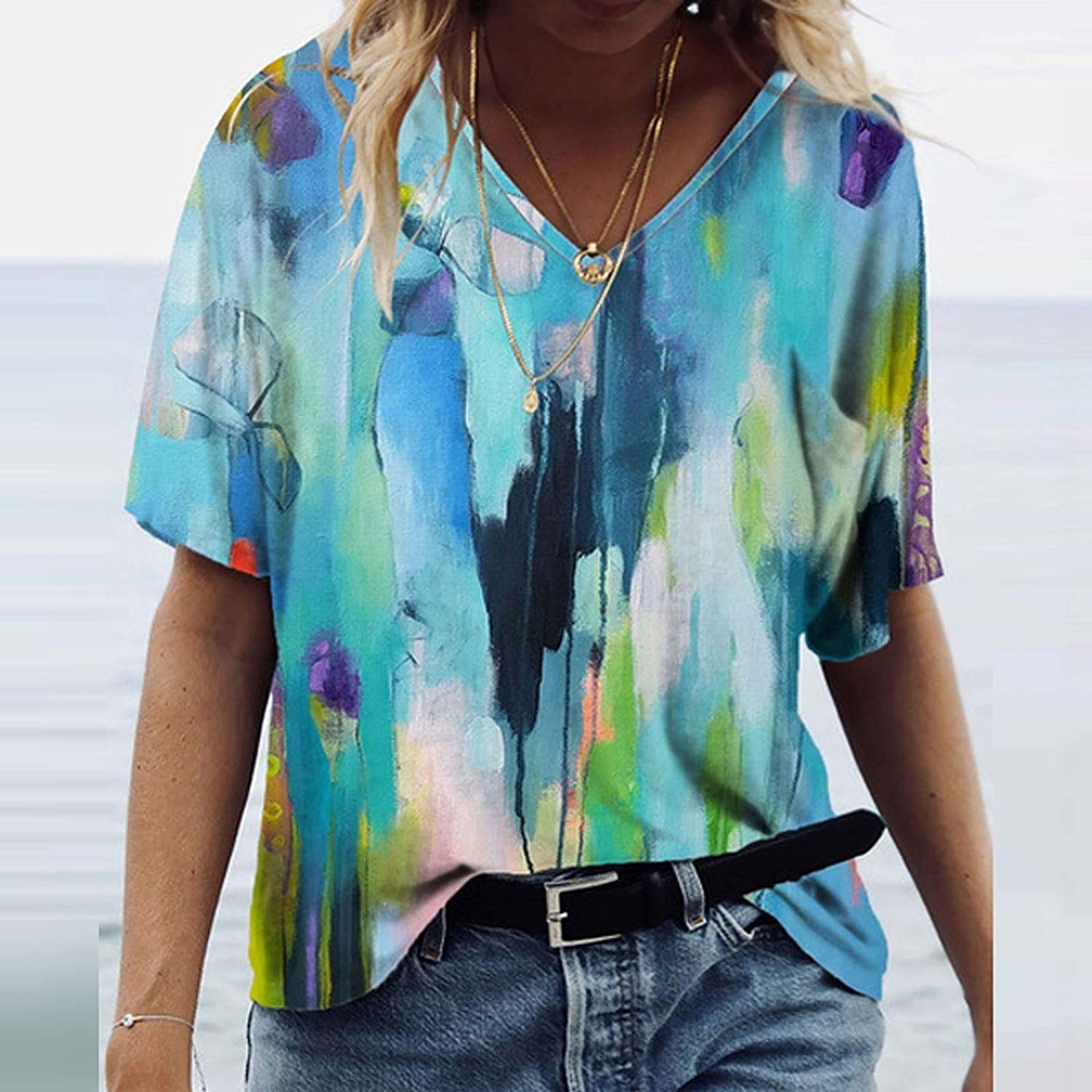 Womens Blouse Short Sleeve,Womens Relaxed-Fit Lightweight Summer Tops Fashion Printed V-Neck T-Shirt Tees Plus Size