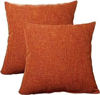 ALHXF Pillow Cover 2 Pack Burlap Linen Throw 18