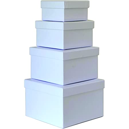 2 Sizes New in Box Details about  /Set of 4 Rigid Navy Blue Luxury Square Storage Gift Boxes