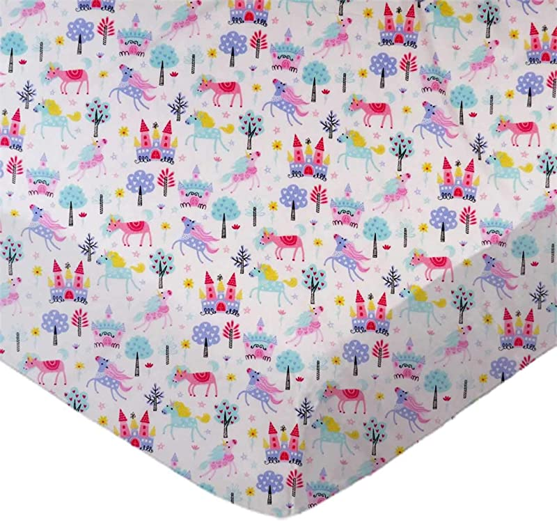 SheetWorld Fitted 100 Cotton Percale Pack N Play Sheet 29 X 42 Unicorns Made In USA
