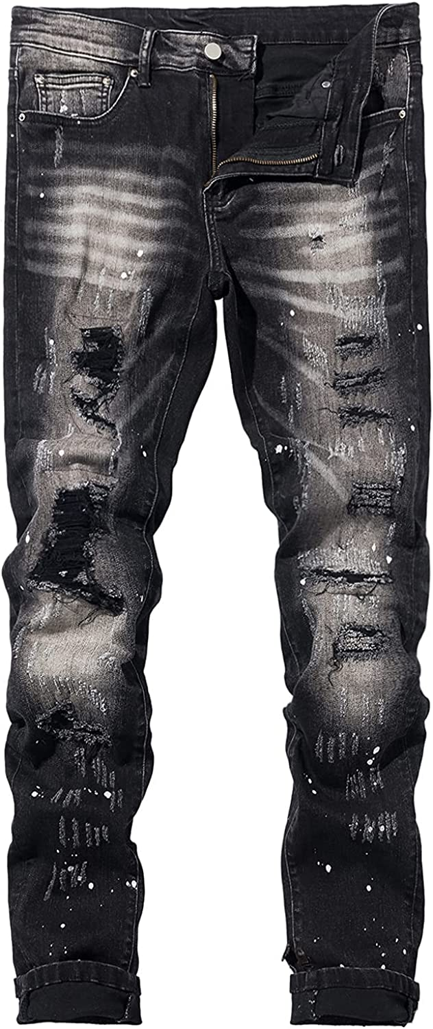HAHAHHL Men's Ripped Ranking TOP4 Jeans Free shipping Skinny Biker Stretch Destroyed Holes