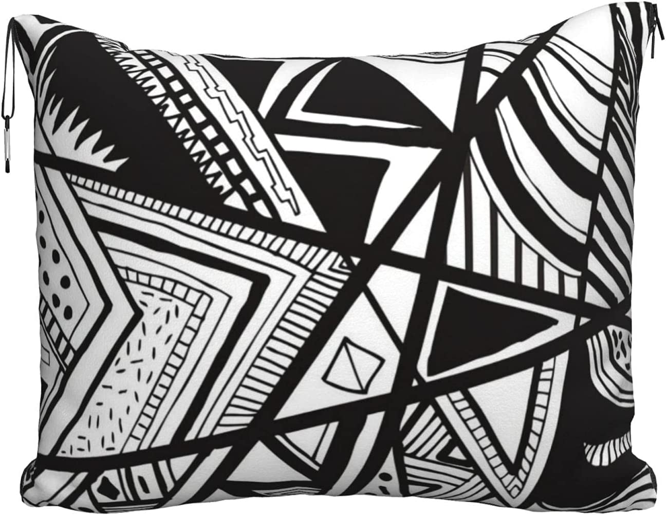 Quantity limited Black Superior and White Lines Shapes Pillow Blanket Travel Blan Airplane