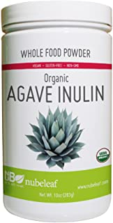 Nubeleaf Agave Inulin Powder - Non-GMO, Gluten-Free, Raw, Organic, Vegan Natural Sweetener - Single-Ingredient Nutrient Rich Superfood for Cooking, Baking, Smoothies (10oz Jar)