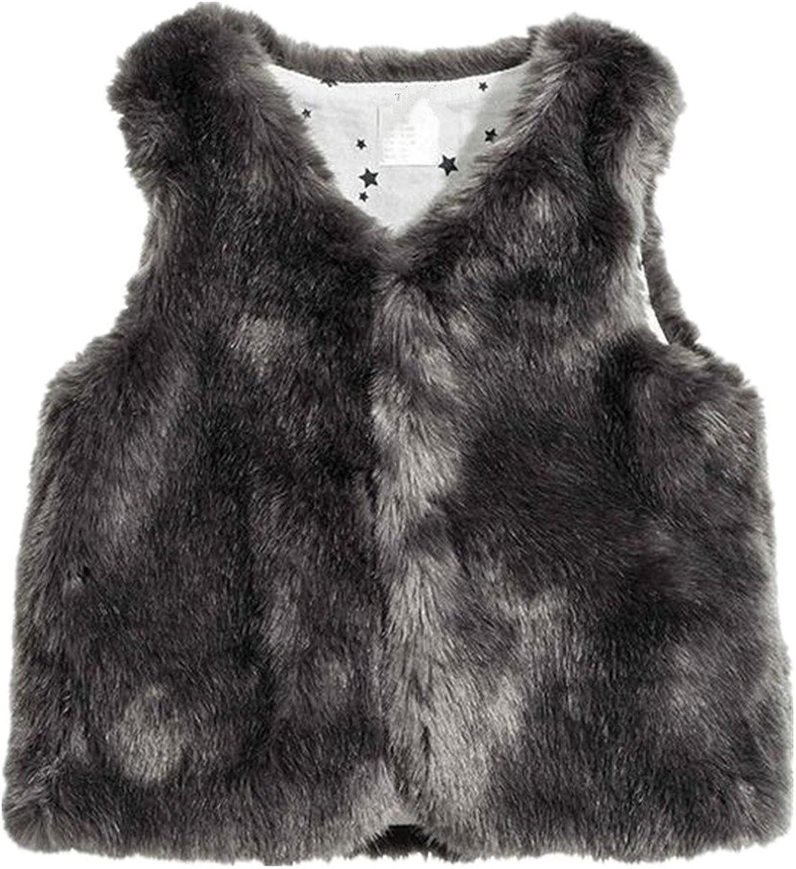LJYH Girls Faux Fur Vest Outerwear Brown