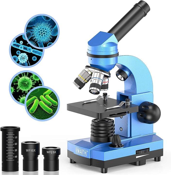 Microscopio science per bambini, principianti e studenti, 40 x 1000 microscopi composti con 52 kit educativi MIC-BLUE
