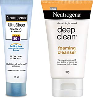 Neutrogena Ultra Sheer Dry Touch Sunblock SPF 50+ Sunscreen For Women And Men, 30ml And Neutrogena Deep Clean Foaming Clea...