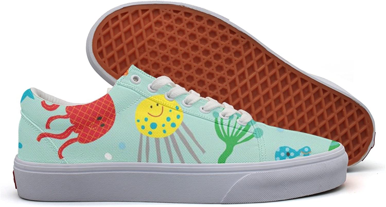 Cute Octopus Jellyfish Seahorse Women's Casual Sneakers shoes Canvas Slip On Print Comfortable