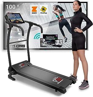 YM TAP100 Cinta De Correr Eléctrica Plegable 10 km/h, Aplicaciòn Compatible Kinomap y Zwift, 12 Programas, Sensor Cardìaco...