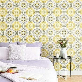 Amazon Com Roommates Cottage Garden Kaleidoscope Yellow Green White Peel And Stick Wallpaper Removable Wallpaper Self Adhesive Wallpaper Home Improvement
