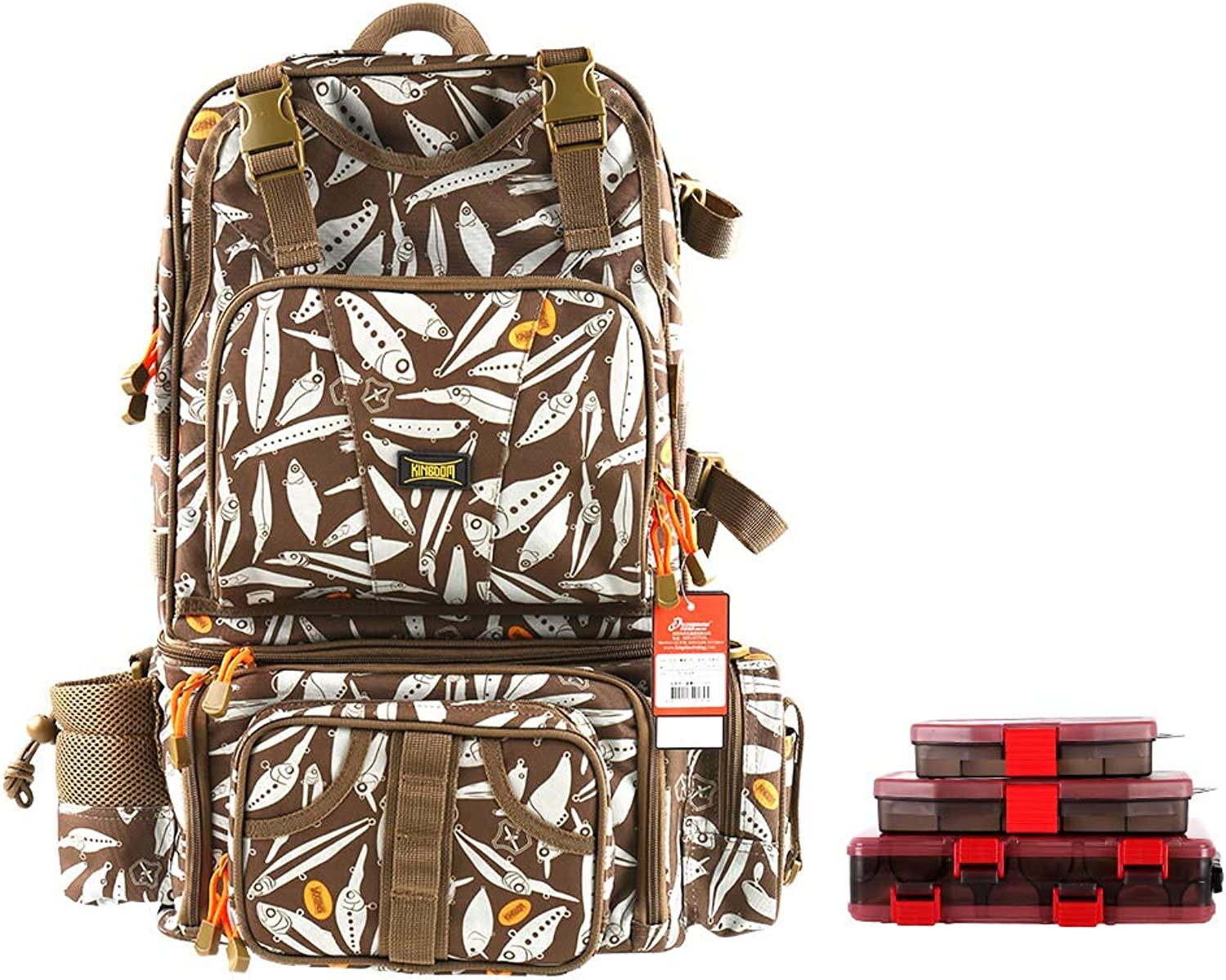 Kingdom Multifunctional Fishing Backpack, Waterproof Fishing Lure Tackle Bag with Detachable Combination and Gear Storage and Phone Bag