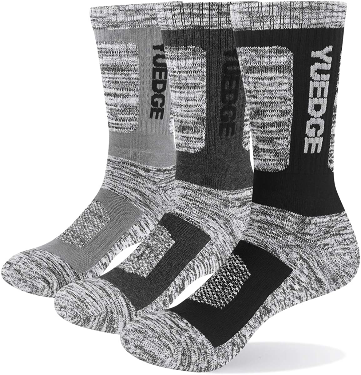 YUEDGE Men's Hiking Socks Cushion Crew Gym Fitness Thick Athletic Sports Socks For Men 6-13(5 Pairs/Pack)