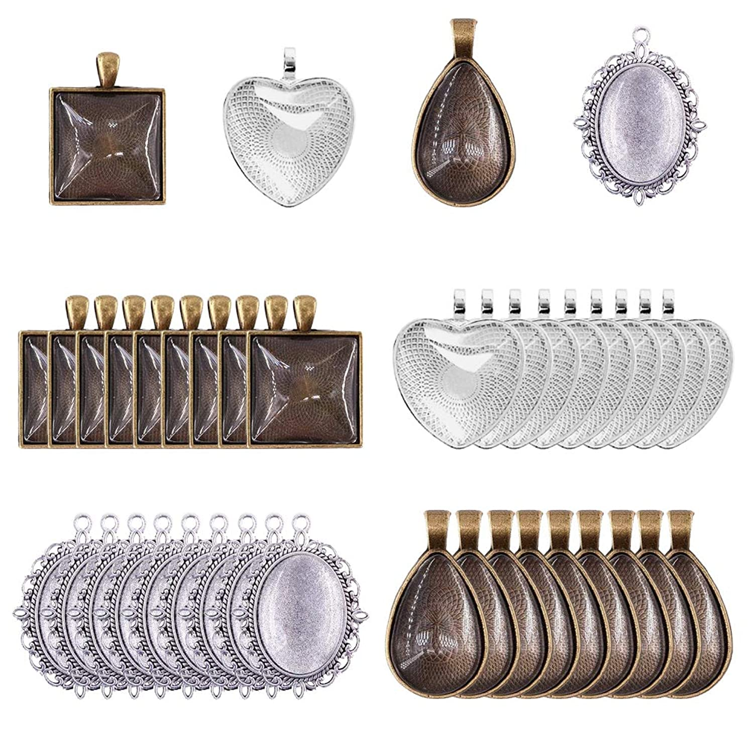 72Pieces 4 Styles Pendant Trays 36pcs Square,Teardrop,Heart and Oval and 36pcs Bright Glass Cabochon Dome Tiles for Crafting DIY Jewelry Gift Making